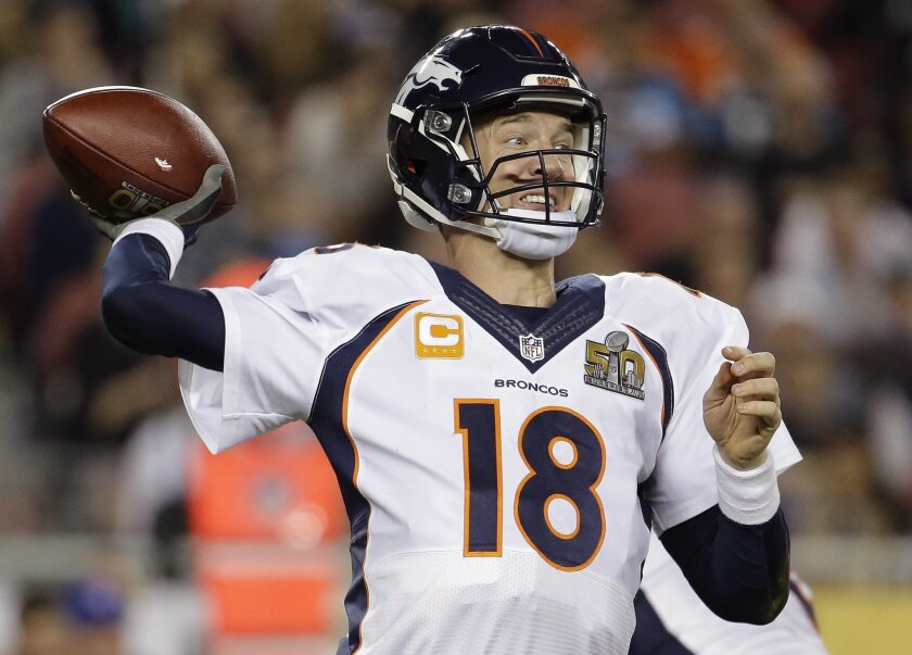 FILE - In this Sunday, Feb. 7, 2016 file photo, Denver Broncos' Peyton Manning (18) passes against the Carolina Panthers during the second half of the NFL Super Bowl 50 football game in Santa Clara, Calif. Denver Broncos quarterback Peyton Manning is mentioned in the lawsuit a group of women filed