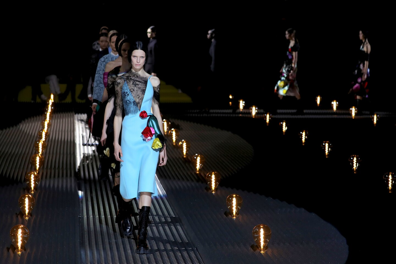 Models walk the runway at the Prada show at Milan Fashion Week autumn/winter 2019 on Feb. 21, 2019, in Milan, Italy.