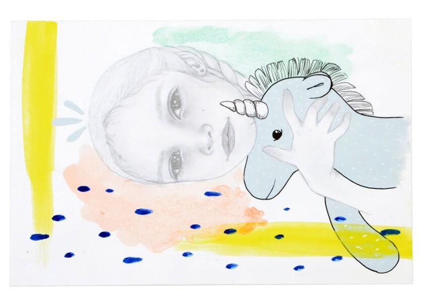 "Karina Vázquez's ""Esperanza, Part 2,"" in which a girl holds a unicorn plushie."
