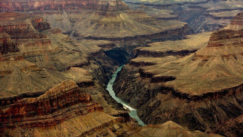 GRAND CANYON, ARIZONA-JUNE 26, 2014: The Colorado River flows through the Grand Canyon as seen from