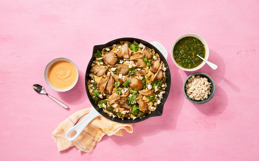 These vegan chilaquiles develop deep, rich flavors from both fresh and dried mushrooms.