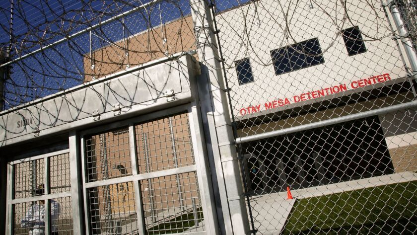 "Otay Mesa Detention Center in San Diego, where a pregnant woman says she was ""neglected, subjected to abusive conditions and denied medical treatment when requested."""