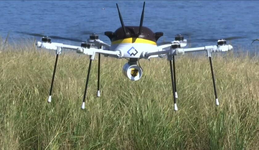 En esta imagen, tomada de un video, un dron de pruebas que hace una entrega para UPS ateriza en Children's Island en Marblehead, Masssachusetts, Estados Unidos. UPS colaboró con al fabricante de robots CyPhy Works para volar el dron emn una ruta programada de tres millas sobre el Atlántico para hacer la entrega. (AP Foto/Rodrique Ngowi)