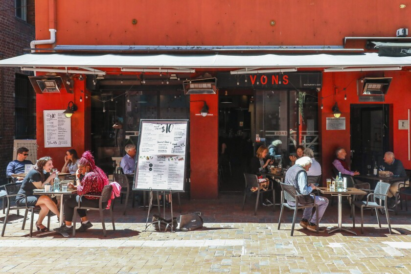 Outdoor diners in Melbourne, Australia, on Wednesday