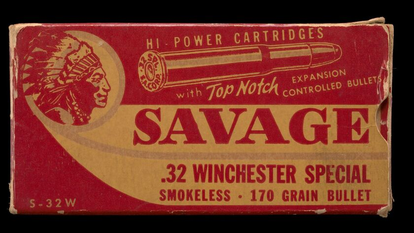 A box of Savage Arms bullets from the 1950s bears the ubiquitous image of an American Indian in Plains headdress.