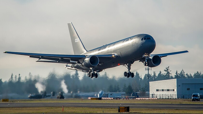 A Boeing KC-46 tanker takes off from Paine Field in Everett, Wash., on a test flight.