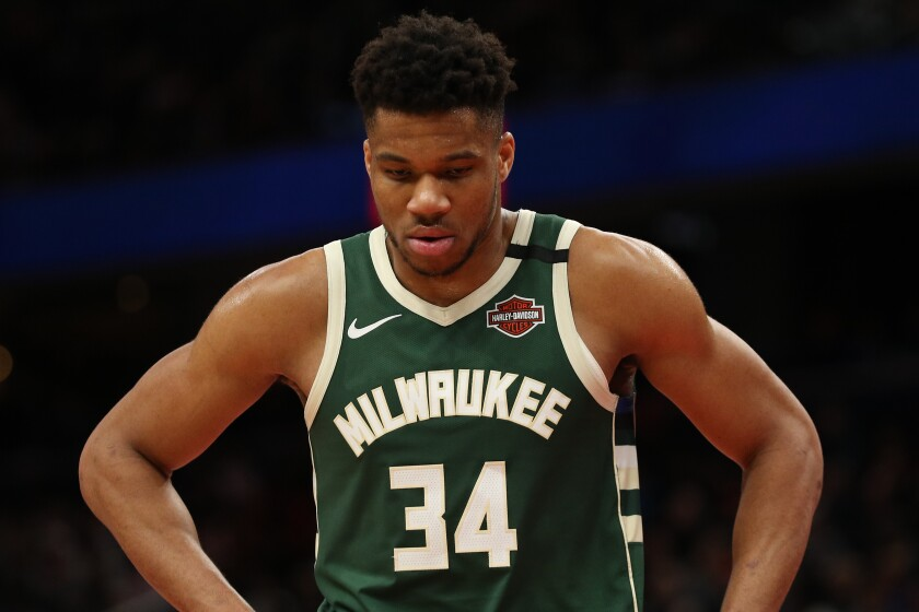 Milwaukee Bucks star Giannis Antetokounmpo sustained a knee sprain during a loss to the Lakers on Friday.