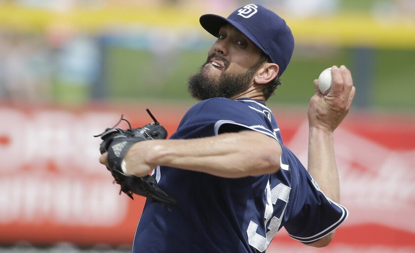 The Padres' James Shields throws during the first inning of a spring training baseball game against the Chicago White Sox on Friday, March 11, 2016, in Peoria, Ariz.