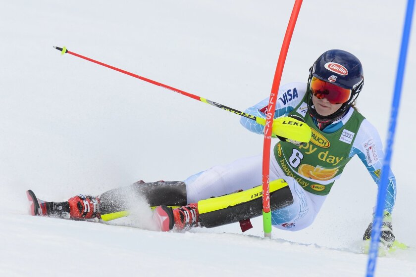 Mikaela Shiffrin of the U.S. competes  during the first run of the women's Slalom race at the FIS Alpine Ski World Cup  in Crans-Montana, Switzerland, Monday, Feb. 15, 2016.  (Jean-Christophe Bott/Keystone via AP)