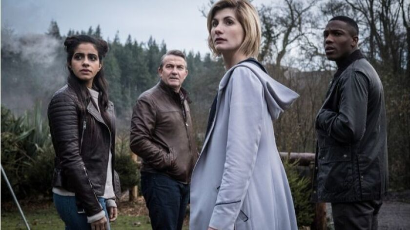 The 13th Doctor Who, Jodie Whittaker, second from right, with her three new companions, Mandip Gill as Yas, left, Bradley Walsh as Graham and Tosin Cole as Ryan. The sci-fi series returns in the fall to BBC America.