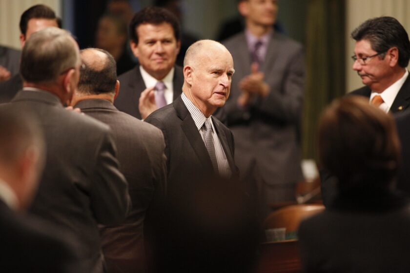 Gov. Jerry Brown receives applause at his State of the State address before a joint session of the California Legislature on Jan. 21, 2016, in Sacramento.