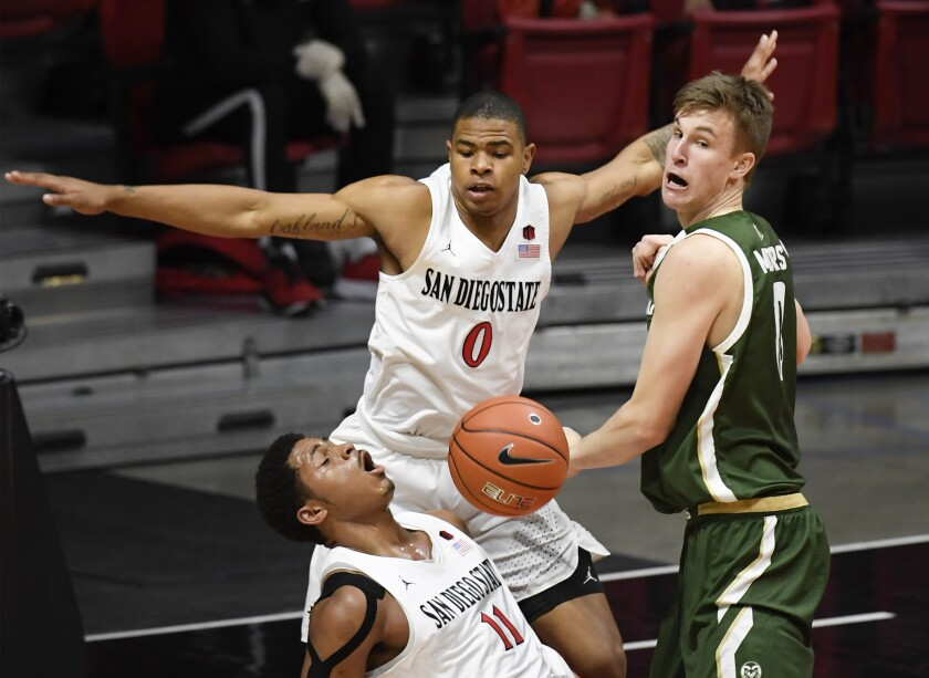 Forward Keshad Johnson (0), shown here against Colorado State, hopes to have a breakout season in his third year at SDSU.