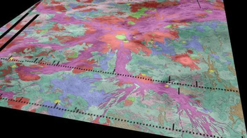 Thousands of miles of rift zones (purple) extend out from a volcano on Venus named Ozza Mons (red, center). A new study finds signs of active lava flows in hot spots along the rifts.
