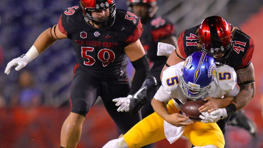 San Diego State linebacker Dakota Turner sacks San Jose State quarterback Kenny Potter as defensive lineman Kyle Kelley assists during the third quarter at Qualcomm Stadium.