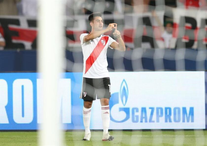Gonzalo Martinez of CA River Plate celebrates after scoring goal during the match for the third place of FIFA Club World Cup 2018 between Kashima Antlers and CA River Plate in Abu Dhabi, United Arab Emirates, 22 December 2018. EFE-EPA FILE/ALI HAIDER
