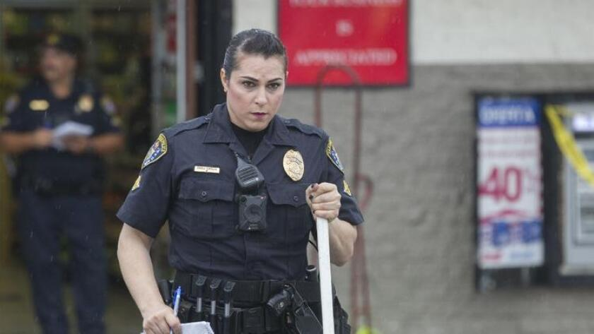 San Diego police Officer Christine Garcia conducting a hit-and-run investigation.