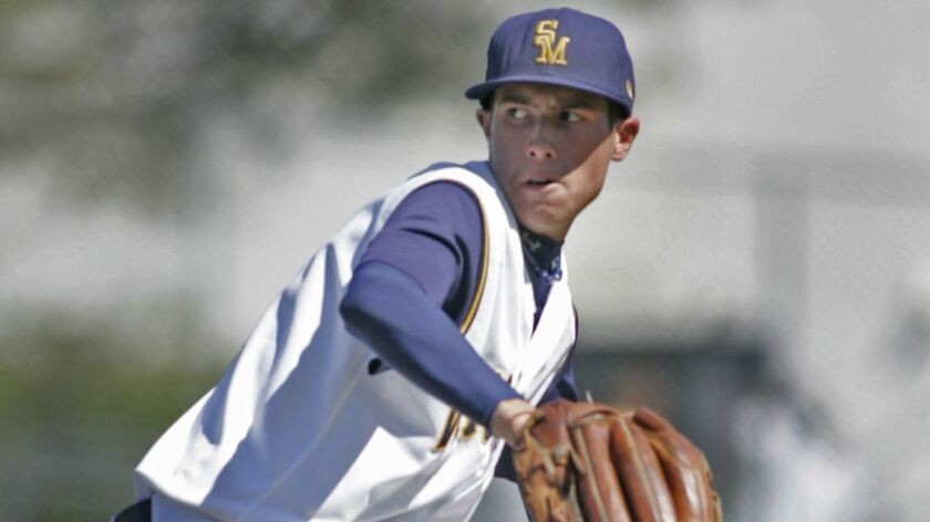 Santa Monica High's Tyler Skaggs pitches against Diamond Ranch during a playoff game on May 16, 2008.