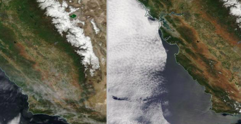 NASA released this satellite image of what California looked like during the winter, and how it appears now.