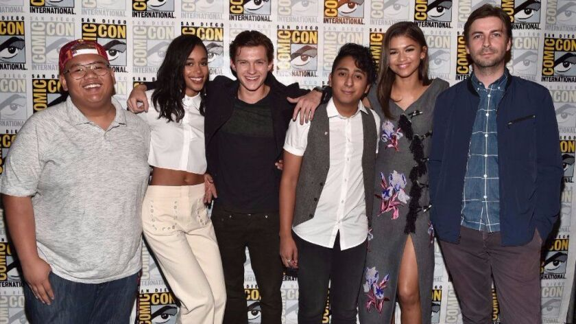 "Actors Jacob Batalon, Laura Harrier, Tom Holland, Tony Revolori, Zendaya and director Jon Watts from ""Spider-Man: Homecoming"" at San Diego Comic-Con 2016."
