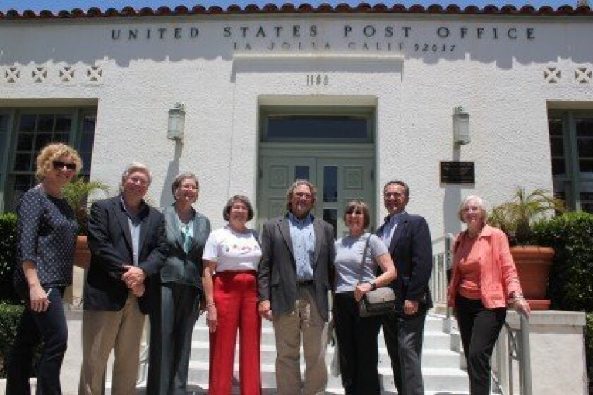 Members of the Save Our La Jolla Post Office Task Force and City Councilwoman Sherri Lightner posed in front of the historic Wall Street post office prior to the June 6 press conference. Pat Sherman photos