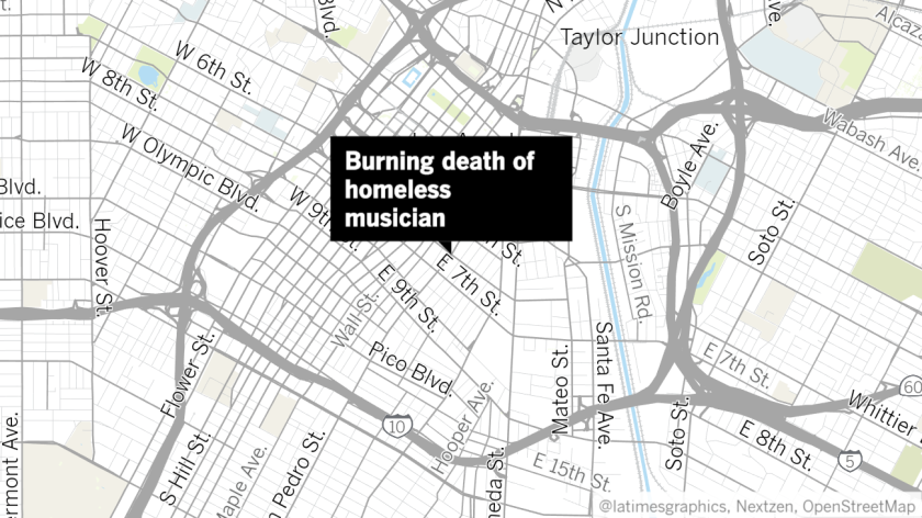 Location of burning death of homeless man on skid row