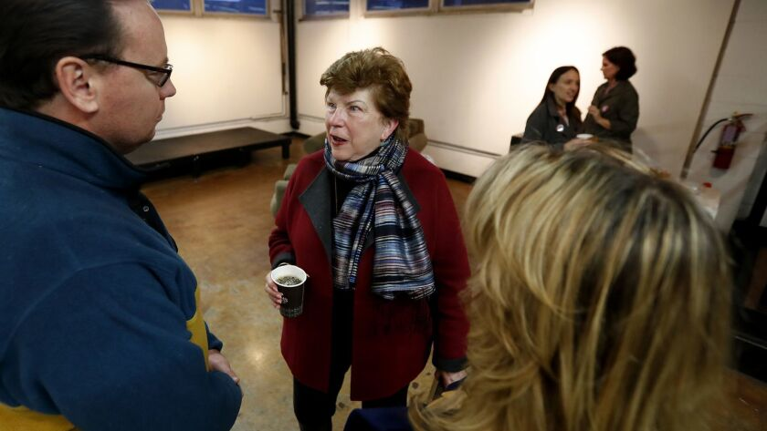 VENTURA, CALIF. - MAR 14, 2018. Gubernatorial candidate Delaine Eastin, center, meets with members