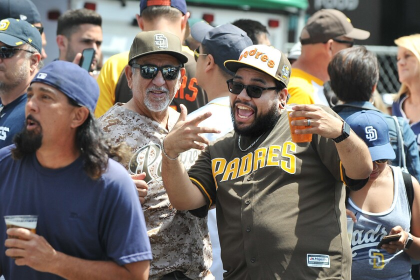 Fans came out in full Padres gear to support the team and welcome its return during the Opening Day Weekend Block Party on Friday, April 7, 2017 in East Village. (Rick Nocon)