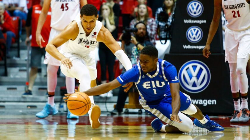 Senior guard Trey Kell (left) dives for a loose ball against Eastern Illinois. He is questionable for SDSU's game at USD on Thursday with a sprained ankle.
