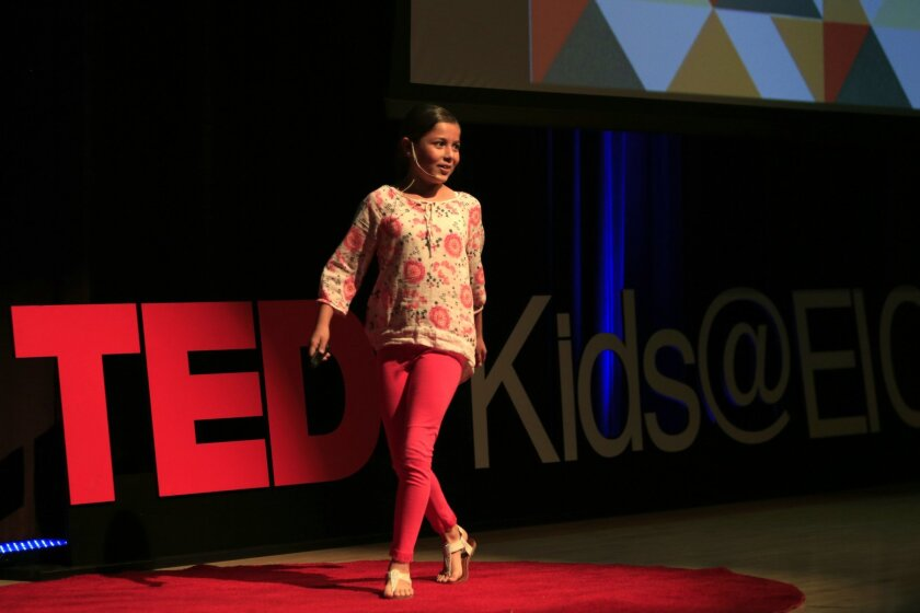 "Regina Acosta, a 4th-grader at Avocodo Elementary School, gave an accomplished TEDxKids@ElCajon talk on art and authenticity Saturday. ""The worst mistake you can make in art is to compare your art to someone else's,"" she said, admitting she had traced other people's work. ""How many times have you cheated?"" she asked the audience. ""Don't tell me, just think about it."""