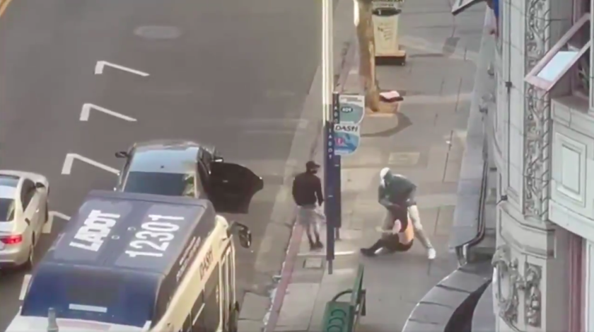 Image from video of street robbery