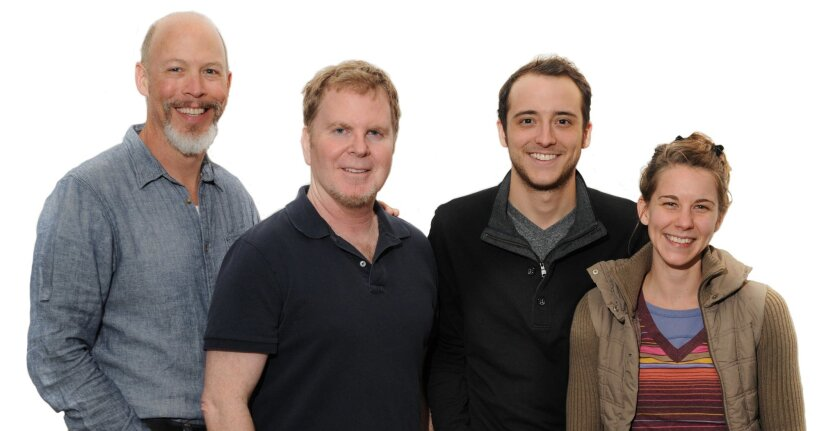 """Mike Sears, Steve Gunderson, Kevin Koppman-Gue and Rachael VanWormer (left to right) appear in Diversionary Theatre's production of """"Birds of a Feather."""""""