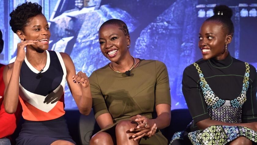 """Black Panther's"" female power: from left, cast members Letitia Wright, Danai Gurira and Lupita Nyong'o at the Marvel Studios' ""Black Panther"" press conference on Tuesday in Beverly Hills."