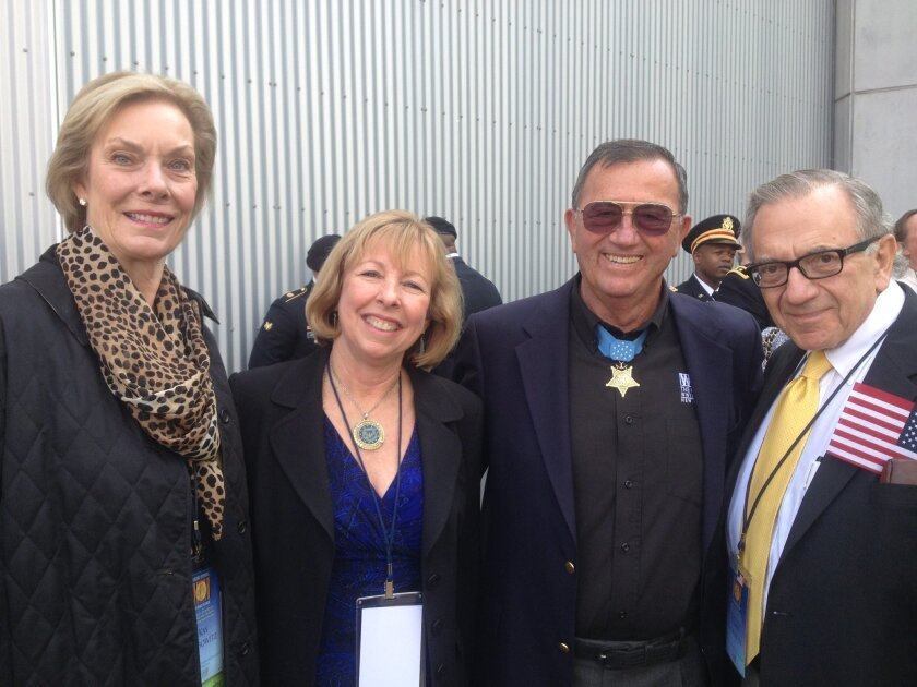 Kay and Harry with Vietnam Medal of Honor recipient Jay Vargas and Kathleen Metcall, daughter of World War II Medal of Honor recipient Walt Ehlers.