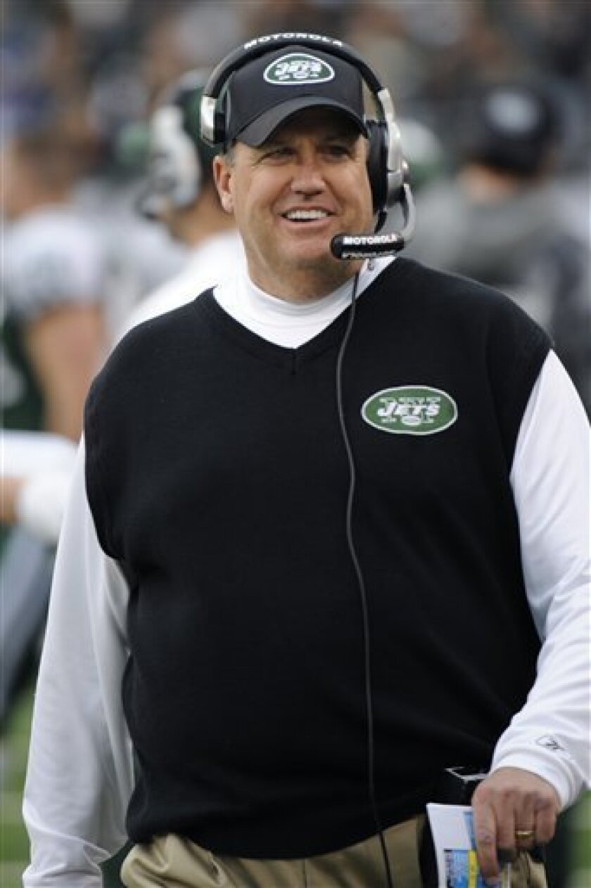New York Jets coach Rex Ryan watches from the sideline during the first quarter of an NFL football game between the Buffalo Bills and the Jets at New Meadowlands Stadium, Sunday, Jan. 2, 2011, in East Rutherford, N.J. (AP Photo/Bill Kostroun)