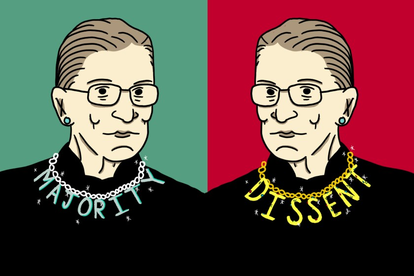 An illustration of Justice Ruth Bader Ginsburg's different collars