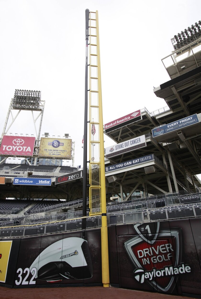 The right-field foul pole at Petco Park has a new look, thanks to an 88-foot replica of a TaylorMade R11 driver.