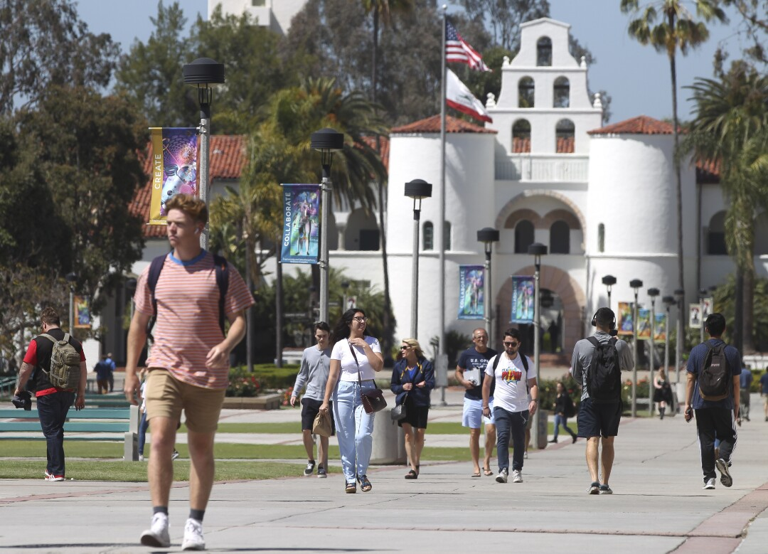 SAN DIEGO, April 24, 2019 | With Hepner Hall in the background, students walk on the San Diego State University campus in San Diego on Wednesday. | (Photo by Hayne Palmour IV / The San Diego Union-Tribune)