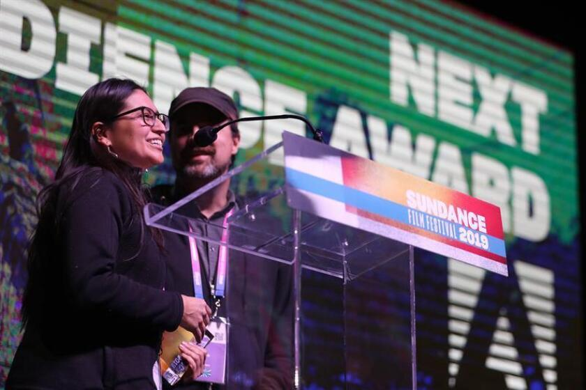 Directors Cristina Ibarra (L) and Alex Rivera (R) win the NEXT Audience Award Presented by Adobe for 'The Infiltrators' at the 2019 Sundance Film Festival awards ceremony in Park City, Utah, USA, 02 February 2019. (Cine, Estados Unidos) EFE/EPA