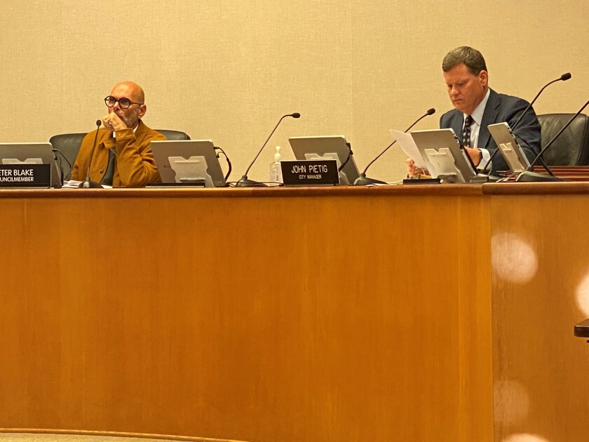 The Laguna Beach City Council will consider a request for censure of Councilman Peter Blake, left, at Tuesday's meeting.