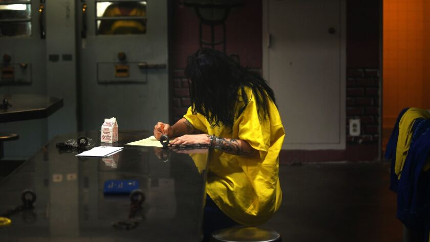An inmate at Century Regional Detention Facility in Los Angeles in 2017. A deputy at the lockup was arrested last year, tied to allegations that he raped female inmates.