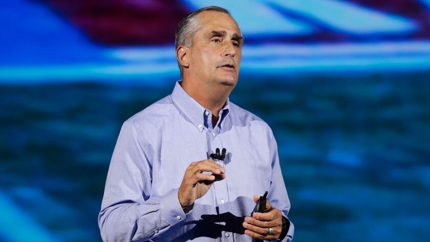 Intel CEO Brian Krzanich delivers a keynote speech at the CES tech show Monday.