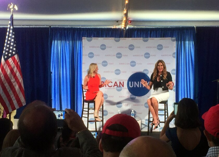 Caitlyn Jenner, right, speaks at an American Unity Fund brunch at the Rock and Roll Hall of Fame in Cleveland on July 20, 2016, on the sidelines of the Republican National Convention. Jenner said it was easier to come out as transgender than it was as a Republican. The transgender activist and Olym