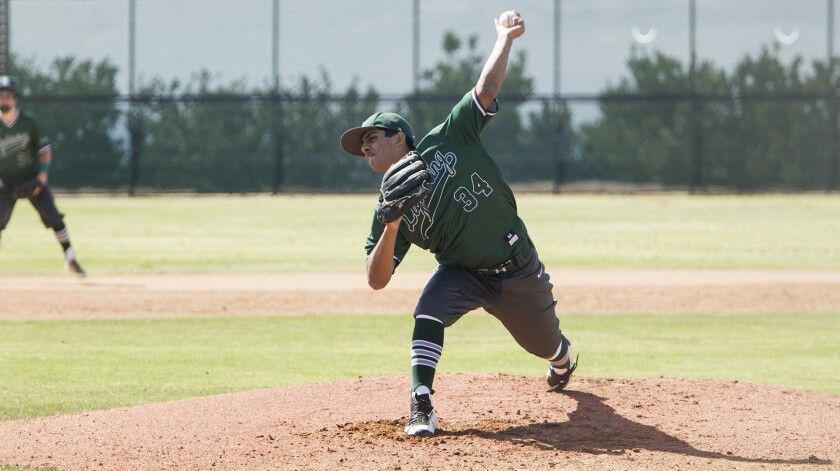Sage Hill School starter Ashwin Chona pitches the ball against Brethren Christian in an Academy Leag
