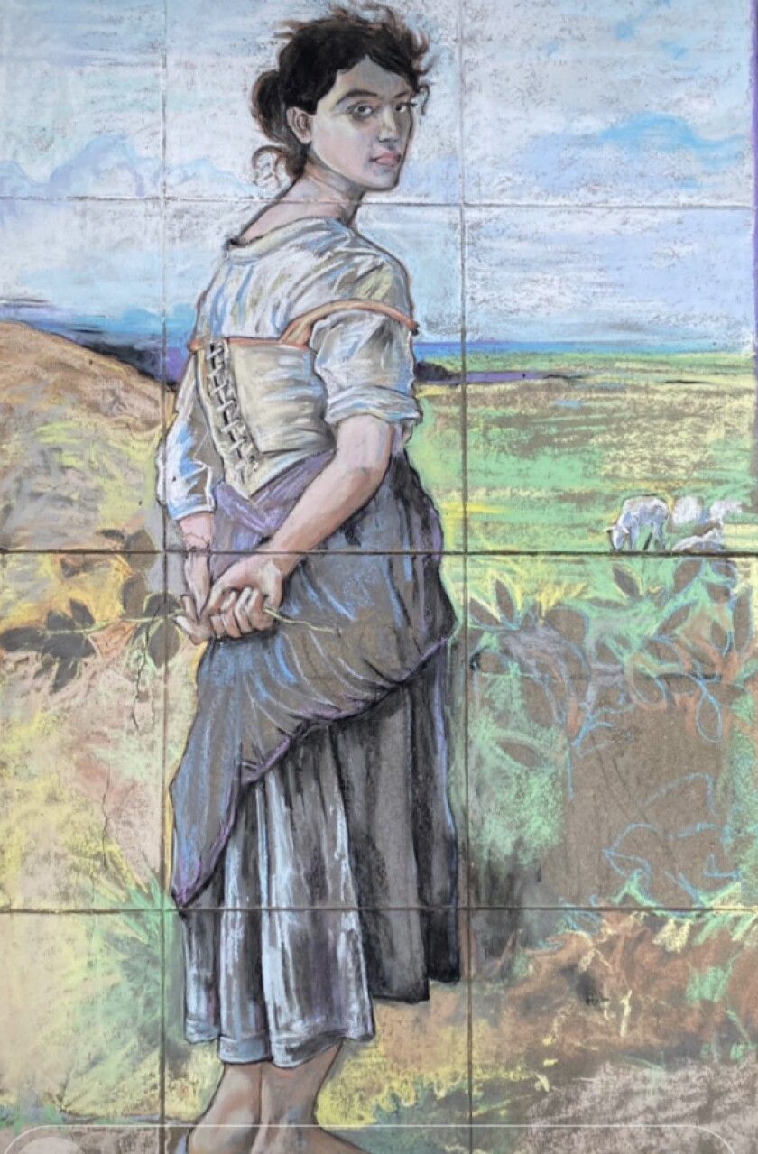 "Erick Toussaint's chalk art intepretation of ""The Young Shepherdess"" painting"