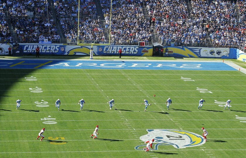 Chargers Josh Lambo kicks off against the Chiefs in the 2nd quarter.
