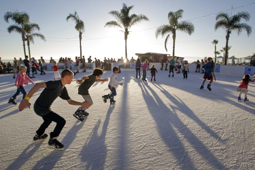 Young skaters zoom around the Skating by the Sea ice skating rink now open at the Hotel del Coronado.