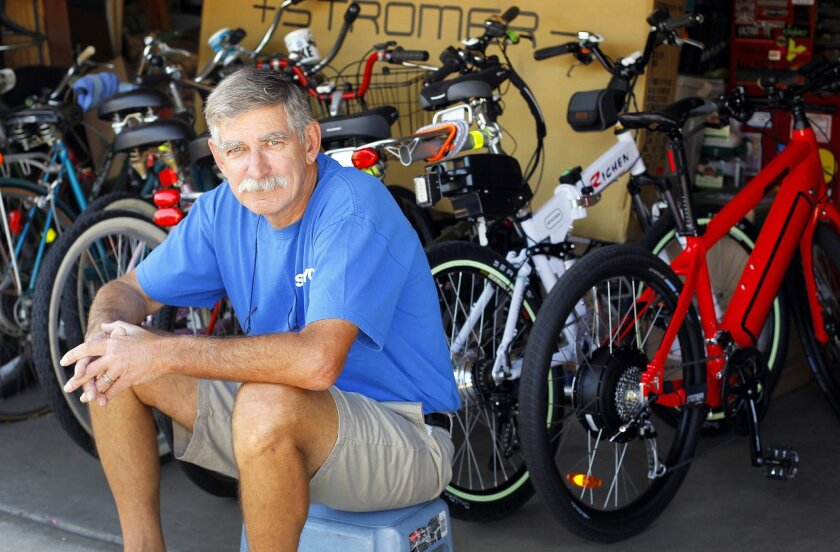 """""""Turbo"""" Bob Bandhauer lives and breathes bicycle technology -- specifically rechargeable electric bicycles that make it easier to navigate San Diego's mesas and canyons."""