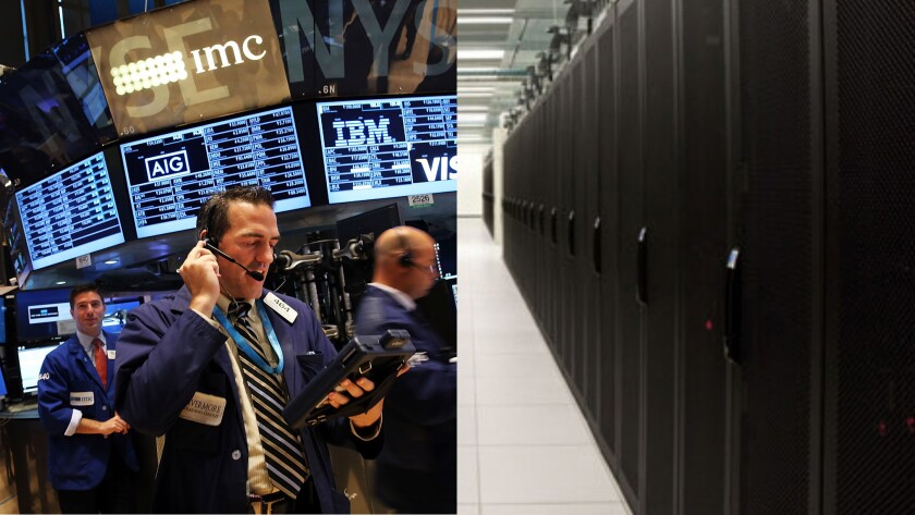 The real face of the New York Stock Exchange: Is it this floor trader, left, or this bank of computers in New Jersey, right?