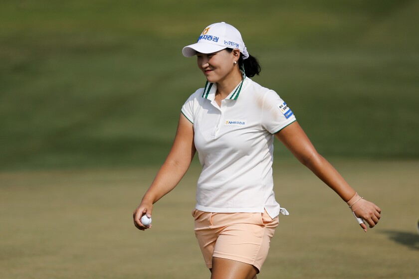 Mirim Lee of South Korea, reacts after making her shot on the second hole during the final round to win the on the first hole during the final round of the LPGA's ANA Inspiration golf tournament at Mission Hills Country Club in Rancho Mirage, Calif., Sunday, Sept. 13, 2020. (AP Photo/Ringo H.W. Chiu)