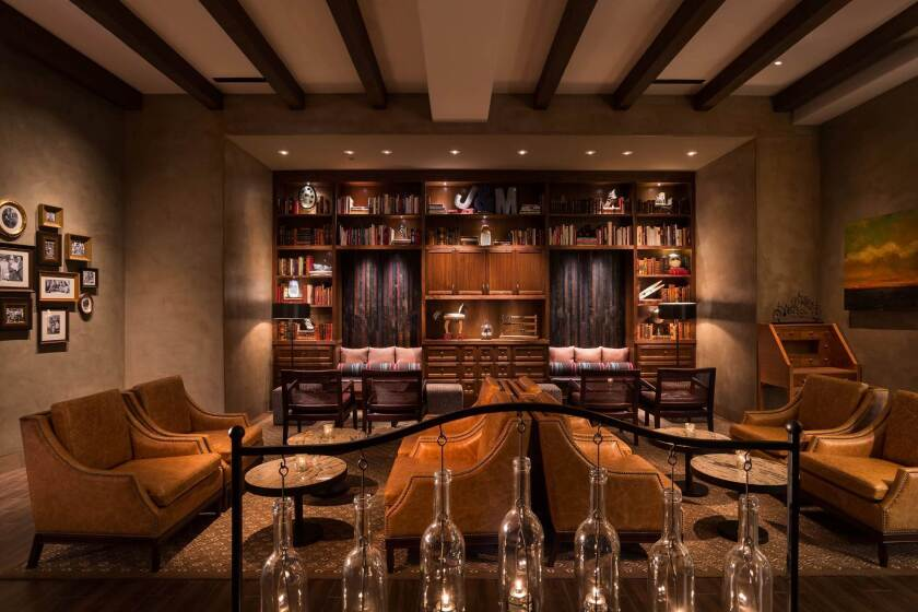 The library is one of the residential-style rooms at the new Watertable restaurant in Huntington Beach.
